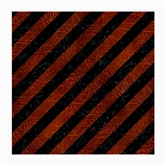 Stripes3 Black Marble & Reddish Brown Leather (r) Medium Glasses Cloth (2 Side) by trendistuff