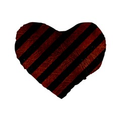 Stripes3 Black Marble & Reddish Brown Leather (r) Standard 16  Premium Heart Shape Cushions by trendistuff