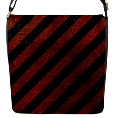Stripes3 Black Marble & Reddish Brown Leather (r) Flap Messenger Bag (s) by trendistuff