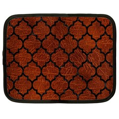 Tile1 Black Marble & Reddish Brown Leather Netbook Case (xl)  by trendistuff