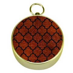 Tile1 Black Marble & Reddish Brown Leather Gold Compasses
