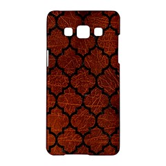 Tile1 Black Marble & Reddish Brown Leather Samsung Galaxy A5 Hardshell Case