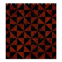 Triangle1 Black Marble & Reddish Brown Leather Shower Curtain 66  X 72  (large)  by trendistuff