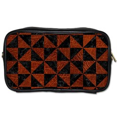 Triangle1 Black Marble & Reddish Brown Leather Toiletries Bags 2 Side by trendistuff