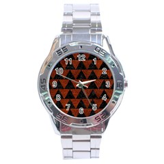 Triangle2 Black Marble & Reddish Brown Leather Stainless Steel Analogue Watch by trendistuff