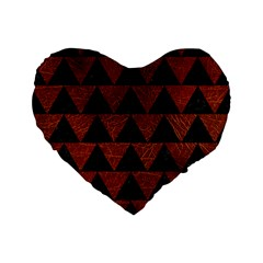 Triangle2 Black Marble & Reddish Brown Leather Standard 16  Premium Flano Heart Shape Cushions by trendistuff