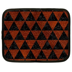 Triangle3 Black Marble & Reddish Brown Leather Netbook Case (large) by trendistuff