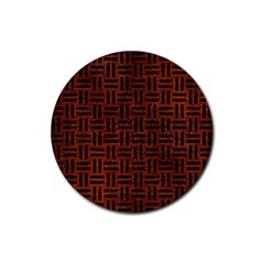 Woven1 Black Marble & Reddish Brown Leather Rubber Round Coaster (4 Pack)  by trendistuff