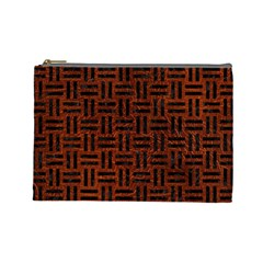 Woven1 Black Marble & Reddish Brown Leather Cosmetic Bag (large)  by trendistuff