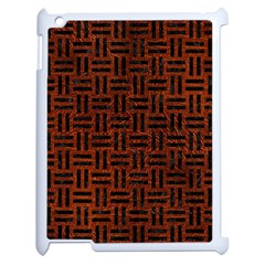 Woven1 Black Marble & Reddish Brown Leather Apple Ipad 2 Case (white) by trendistuff