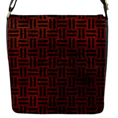 Woven1 Black Marble & Reddish Brown Leather Flap Messenger Bag (s) by trendistuff