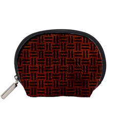 Woven1 Black Marble & Reddish Brown Leather Accessory Pouches (small)  by trendistuff