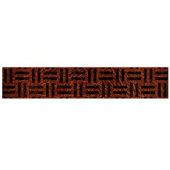 Woven1 Black Marble & Reddish Brown Leather Flano Scarf (large) by trendistuff