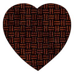 Woven1 Black Marble & Reddish Brown Leather (r) Jigsaw Puzzle (heart) by trendistuff