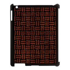 Woven1 Black Marble & Reddish Brown Leather (r) Apple Ipad 3/4 Case (black) by trendistuff