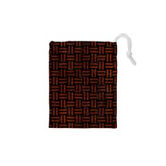 Woven1 Black Marble & Reddish Brown Leather (r) Drawstring Pouches (xs)  by trendistuff