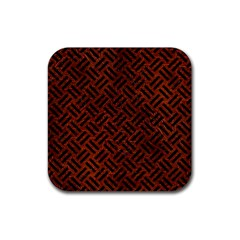 Woven2 Black Marble & Reddish Brown Leather Rubber Coaster (square)  by trendistuff