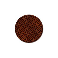 Woven2 Black Marble & Reddish Brown Leather Golf Ball Marker by trendistuff