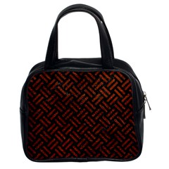 Woven2 Black Marble & Reddish Brown Leather (r) Classic Handbags (2 Sides) by trendistuff