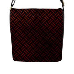 Woven2 Black Marble & Reddish Brown Leather (r) Flap Messenger Bag (l)  by trendistuff