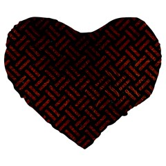 Woven2 Black Marble & Reddish Brown Leather (r) Large 19  Premium Flano Heart Shape Cushions by trendistuff