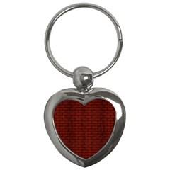 Brick1 Black Marble & Reddish Brown Wood Key Chains (heart)  by trendistuff