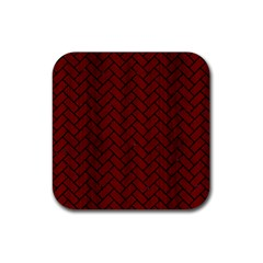 Brick2 Black Marble & Reddish Brown Wood Rubber Coaster (square)  by trendistuff