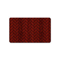Brick2 Black Marble & Reddish Brown Wood Magnet (name Card) by trendistuff
