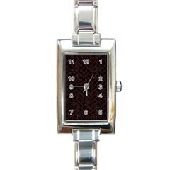 Brick2 Black Marble & Reddish Brown Wood (r) Rectangle Italian Charm Watch by trendistuff