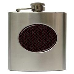 Brick2 Black Marble & Reddish Brown Wood (r) Hip Flask (6 Oz) by trendistuff