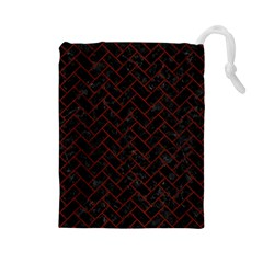 Brick2 Black Marble & Reddish Brown Wood (r) Drawstring Pouches (large)