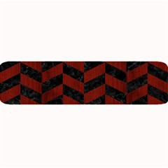 Chevron1 Black Marble & Reddish Brown Wood Large Bar Mats by trendistuff