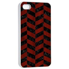 Chevron1 Black Marble & Reddish Brown Wood Apple Iphone 4/4s Seamless Case (white) by trendistuff