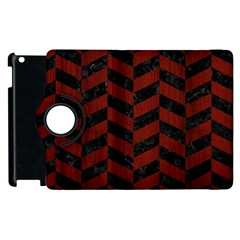 Chevron1 Black Marble & Reddish Brown Wood Apple Ipad 2 Flip 360 Case by trendistuff
