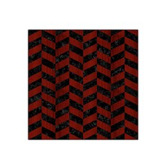 Chevron1 Black Marble & Reddish Brown Wood Satin Bandana Scarf by trendistuff