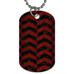 Chevron2 Black Marble & Reddish Brown Wood Dog Tag (one Side) by trendistuff