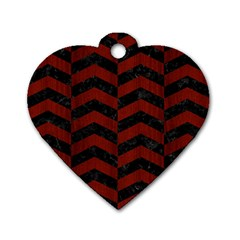 Chevron2 Black Marble & Reddish Brown Wood Dog Tag Heart (two Sides) by trendistuff