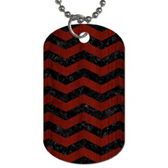 Chevron3 Black Marble & Reddish Brown Wood Dog Tag (one Side) by trendistuff