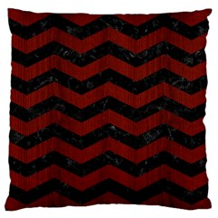 Chevron3 Black Marble & Reddish Brown Wood Large Cushion Case (two Sides) by trendistuff