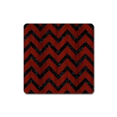 Chevron9 Black Marble & Reddish Brown Wood Square Magnet by trendistuff