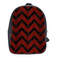 Chevron9 Black Marble & Reddish Brown Wood School Bag (large) by trendistuff