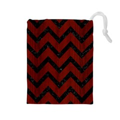 Chevron9 Black Marble & Reddish Brown Wood Drawstring Pouches (large)