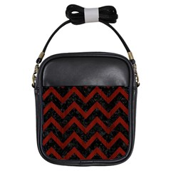 Chevron9 Black Marble & Reddish Brown Wood (r) Girls Sling Bags by trendistuff