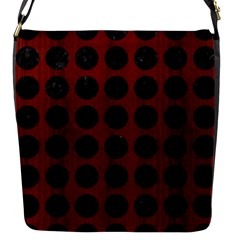 Circles1 Black Marble & Reddish Brown Wood Flap Messenger Bag (s) by trendistuff