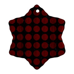 Circles1 Black Marble & Reddish Brown Wood (r) Snowflake Ornament (two Sides) by trendistuff