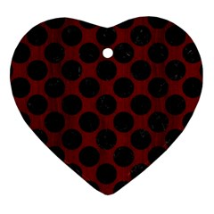 Circles2 Black Marble & Reddish Brown Wood Heart Ornament (two Sides) by trendistuff