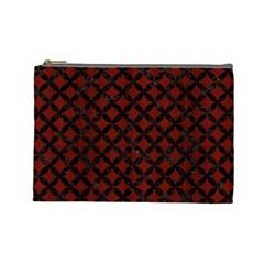 Circles3 Black Marble & Reddish Brown Wood Cosmetic Bag (large)  by trendistuff
