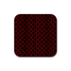 Circles3 Black Marble & Reddish Brown Wood (r) Rubber Square Coaster (4 Pack)  by trendistuff