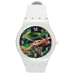 Abstract Shiny Night Lights 3 Round Plastic Sport Watch (m) by tarastyle