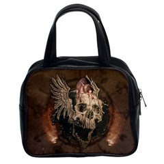 Awesome Creepy Skull With Rat And Wings Classic Handbags (2 Sides) by FantasyWorld7